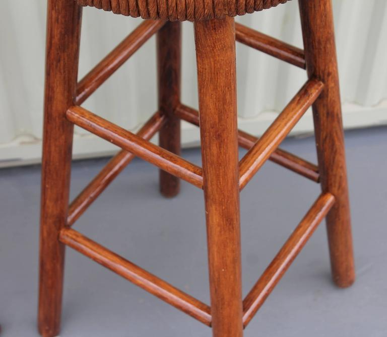 Pair of Rustic Handmade Bar Stools In Excellent Condition For Sale In Los Angeles, CA