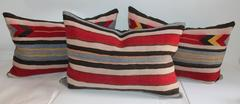 Collection of Three Navajo Weaving  Saddle Blanket Pillows
