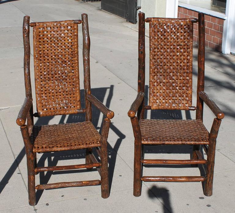 Set Of Eight Matching Signed Old Hickory Dining Chairs For