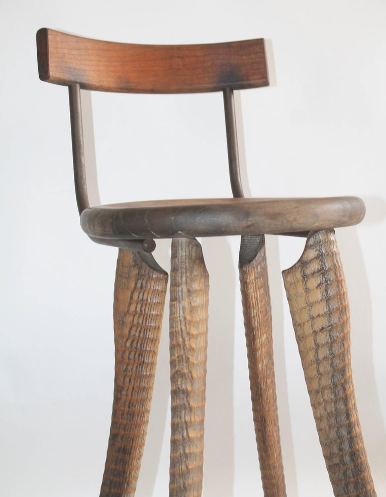 Adirondack Folky Handmade Industrial Looking Bar Stool For Sale