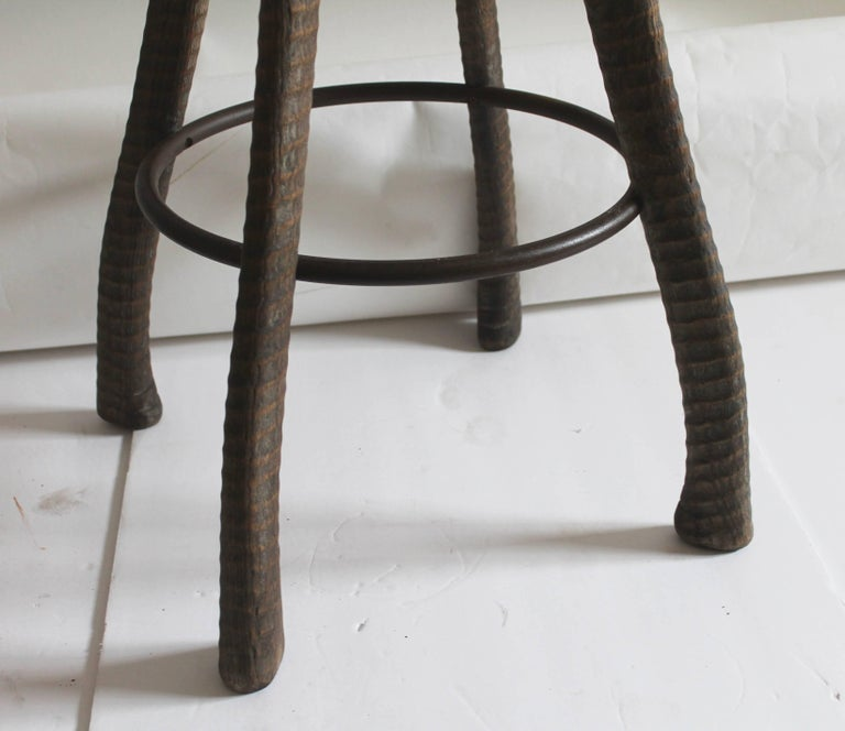 American Folky Handmade Industrial Looking Bar Stool For Sale