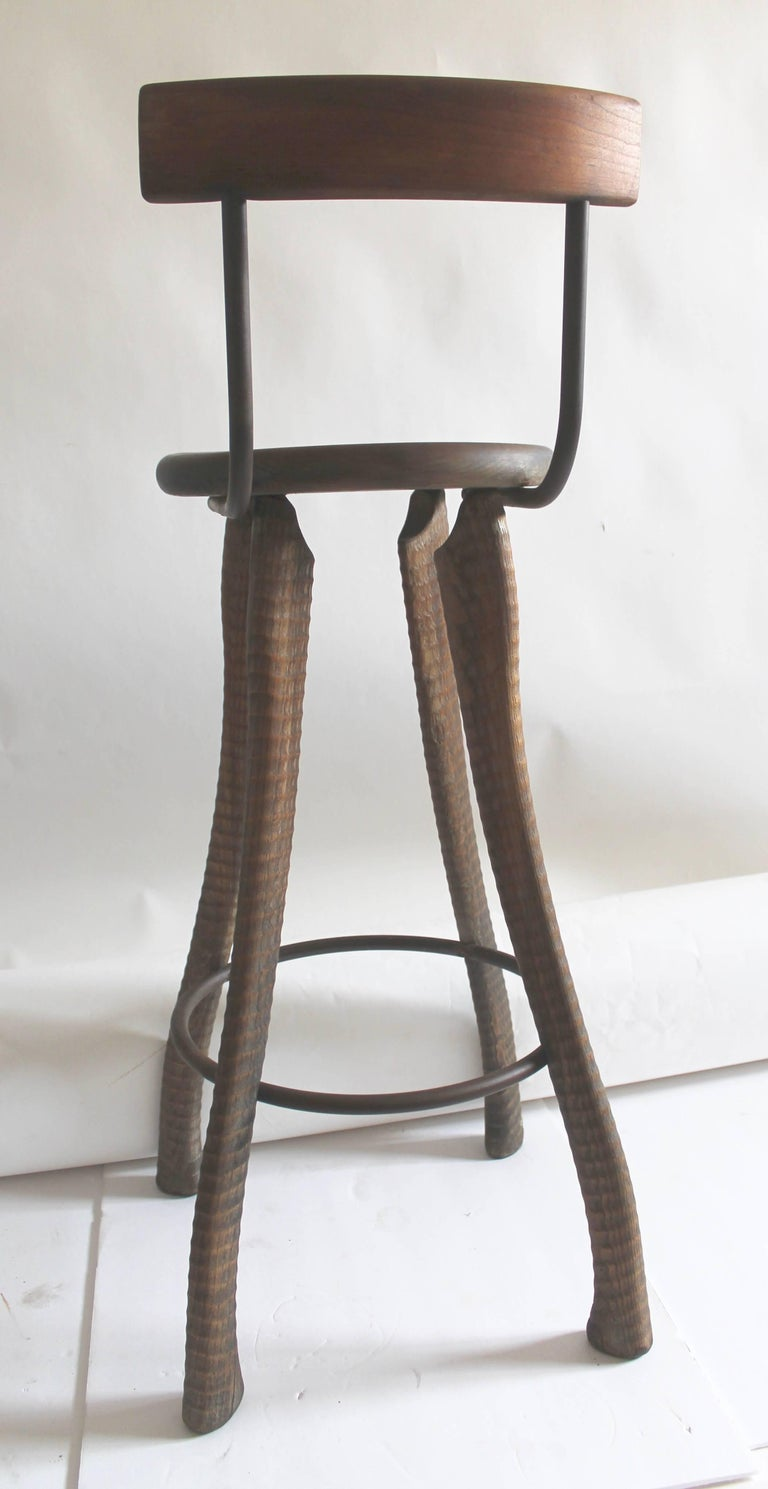 20th Century Folky Handmade Industrial Looking Bar Stool For Sale