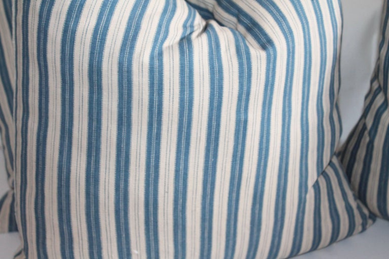 Vintage Blue and White Ticking Pillows, Pair 2