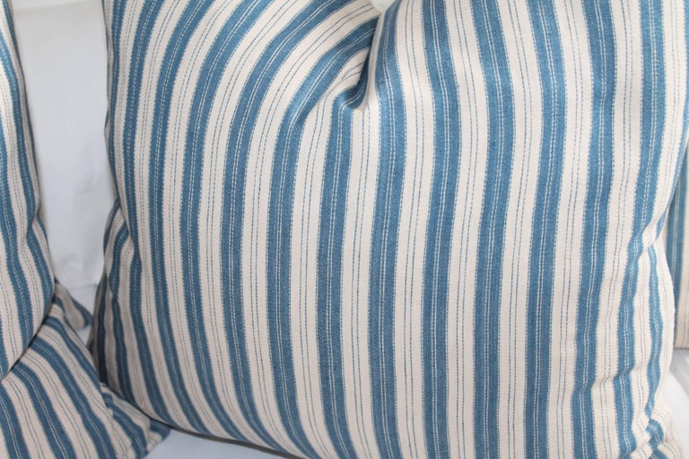 Vintage Blue and White Ticking Pillows, Pair 3