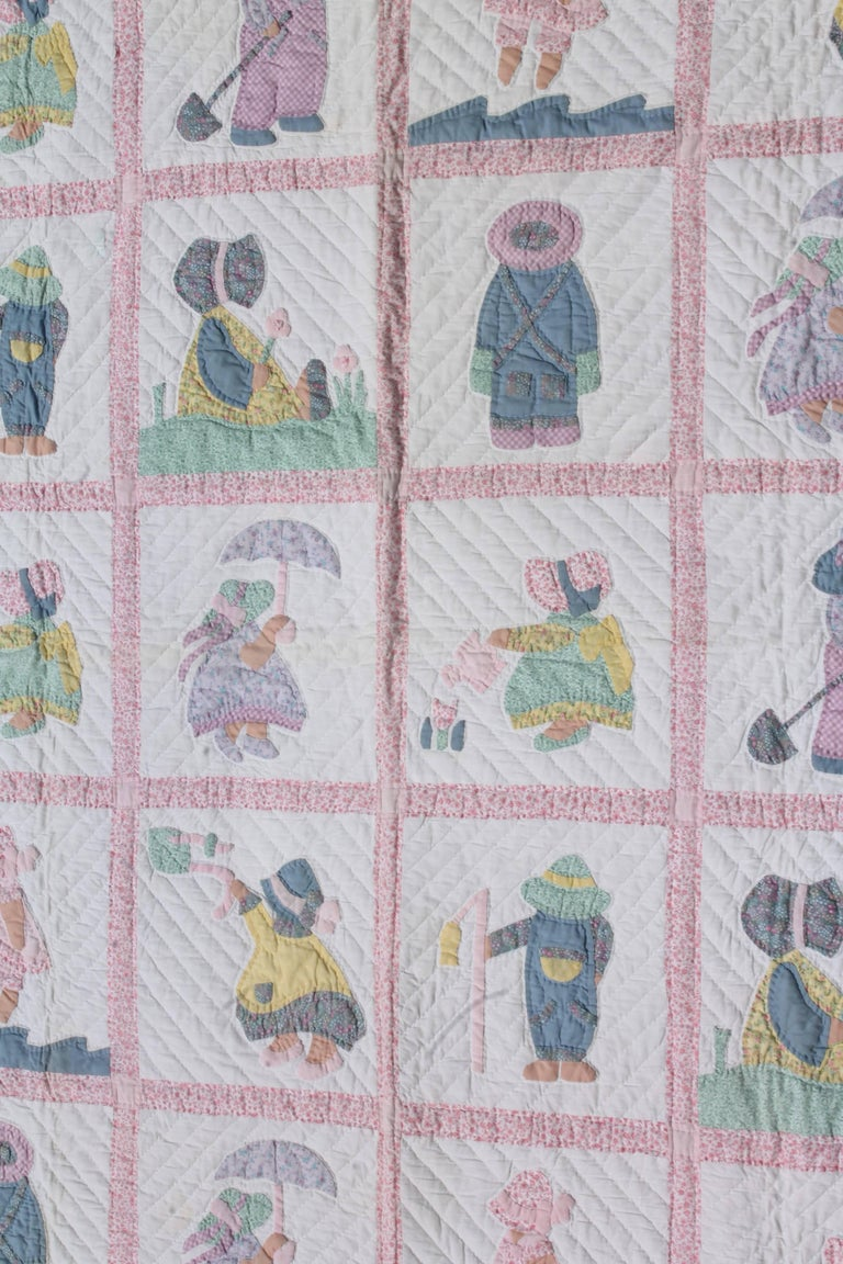 American 1940s Overall Sam & Sue Applique Quilt For Sale