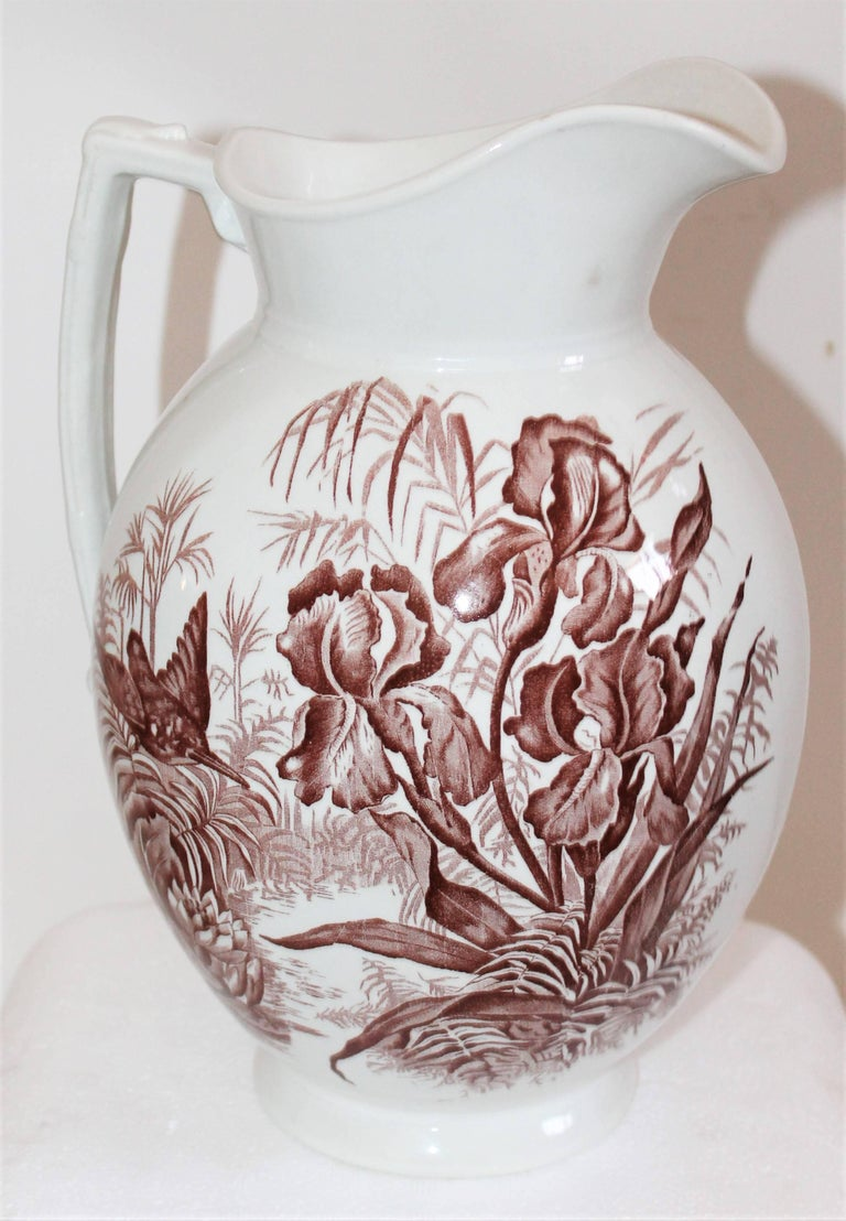 Pottery 19th Century, Transfer Ironstone Wash Bowl and Pitcher Set For Sale