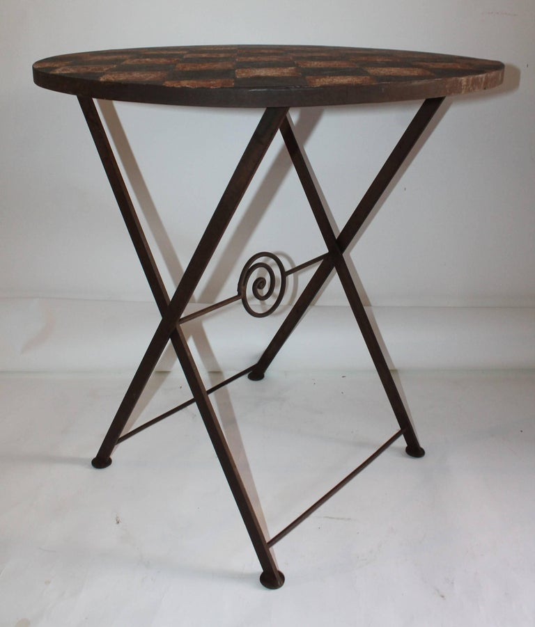 Country 20th Century Painted Metal Patio / Garden Table For Sale
