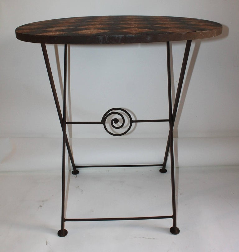 American 20th Century Painted Metal Patio / Garden Table For Sale