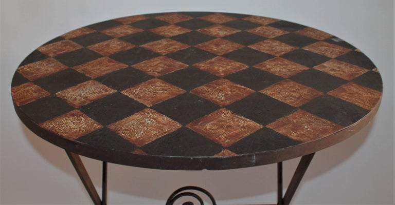 20th Century Painted Metal Patio / Garden Table In Good Condition For Sale In Los Angeles, CA