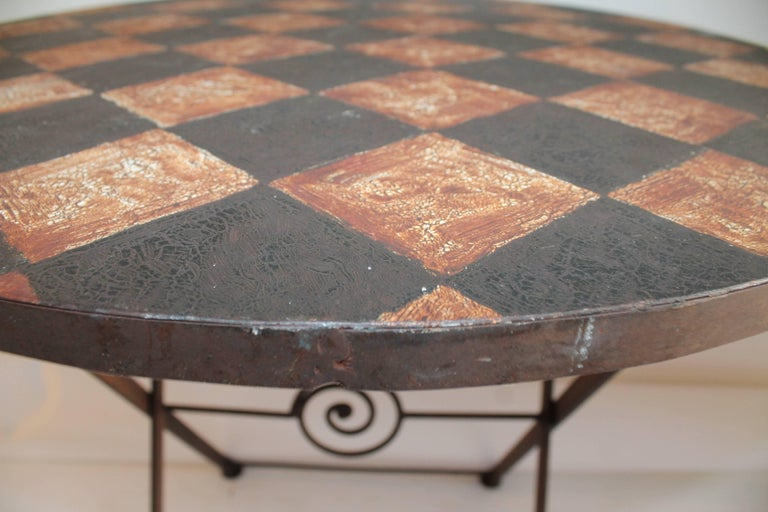20th Century Painted Metal Patio / Garden Table For Sale 1