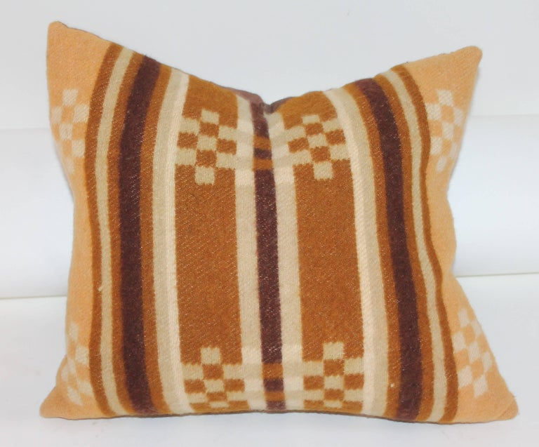 Wool Collection of Four 19th Century Horse Blanket Pillows For Sale
