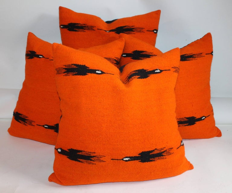 These black birds in flight with a orange back round color are in fine condition and are sold as a group of four pillows. The backing of course is in black cotton linen.