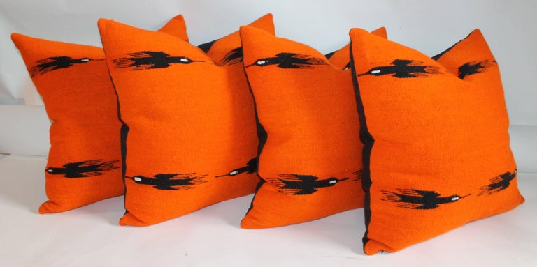 American Indian Weaving Birds in Flight Collection of Four Pillows For Sale