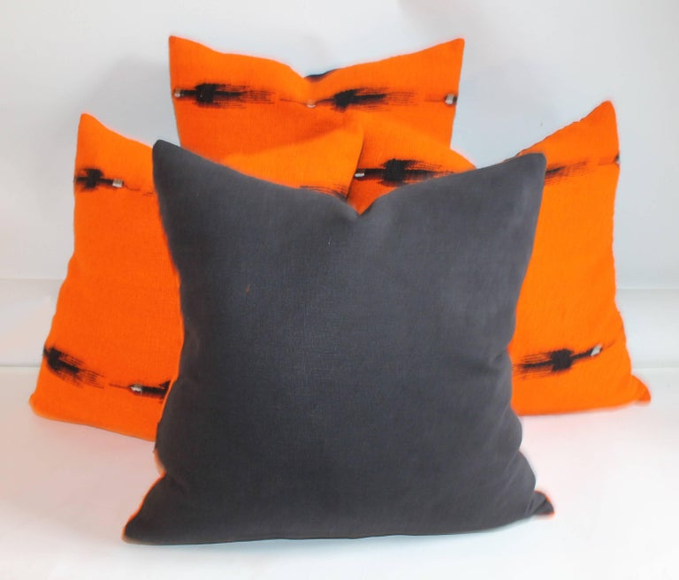 Mid-20th Century Indian Weaving Birds in Flight Collection of Four Pillows For Sale