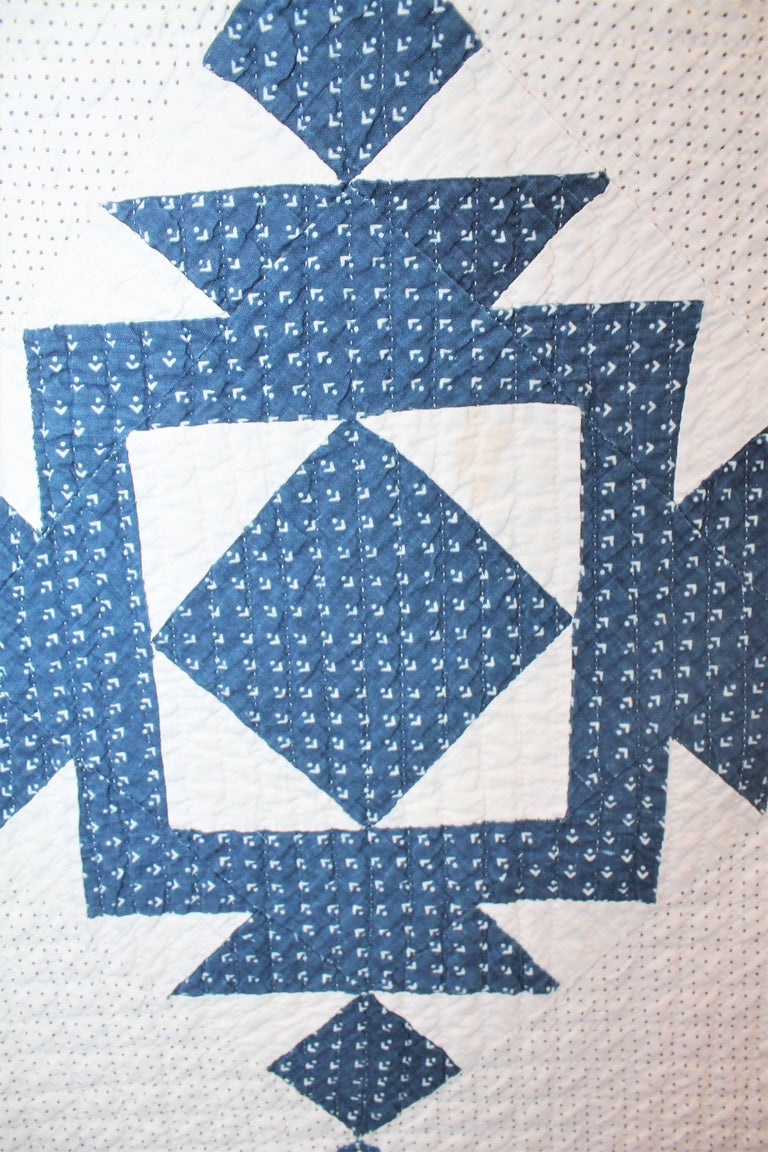 19th Century Blue and White Ocean Waves Quilt 6