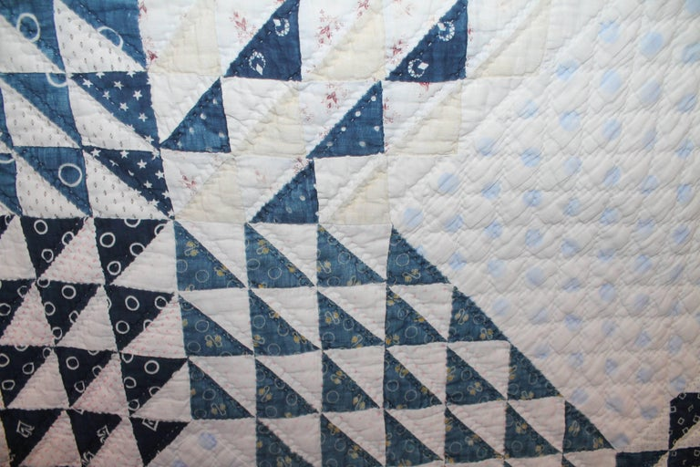 19th Century Blue and White Ocean Waves Quilt 5