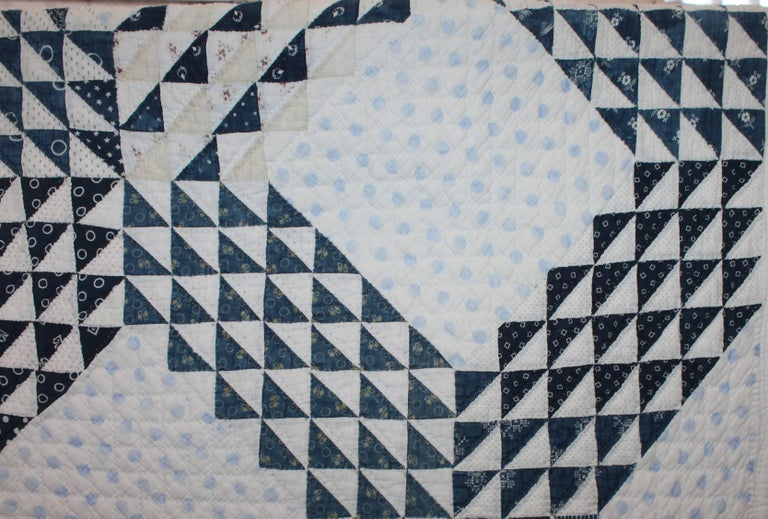 19th Century Blue and White Ocean Waves Quilt 4