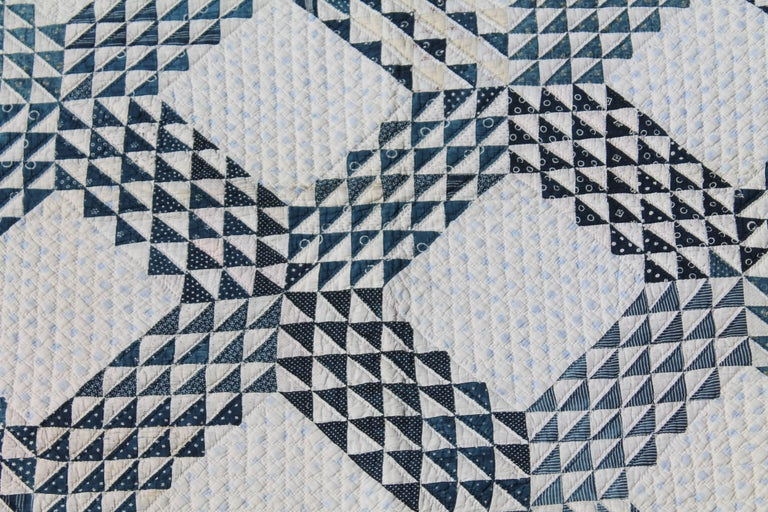 19th Century Blue and White Ocean Waves Quilt 2