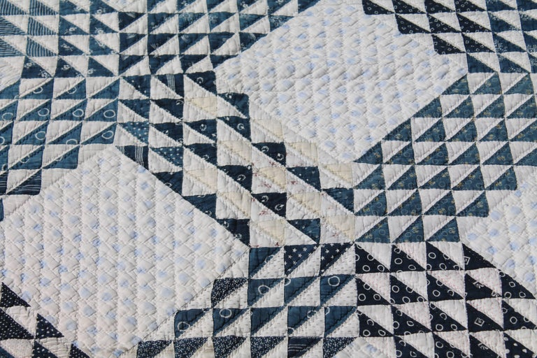 19th Century Blue and White Ocean Waves Quilt 3