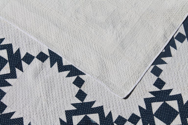 Hand-Crafted Quilt, 19th Century Blue and White Geometric For Sale