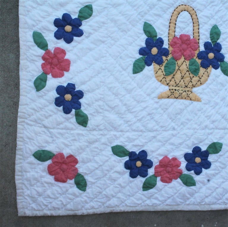 Applique Flower Basket Quilt For Sale At 1stdibs