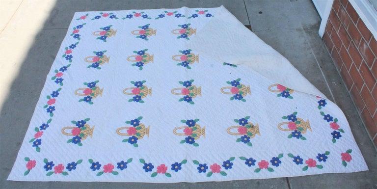 Cotton Applique Flower Basket Quilt For Sale