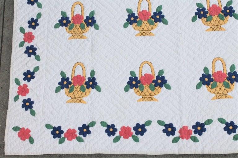 Country Applique Flower Basket Quilt For Sale