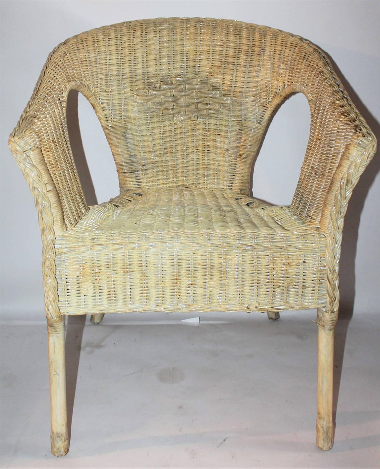 Bar Harbor Painted Wicker Chairs/Pair 4