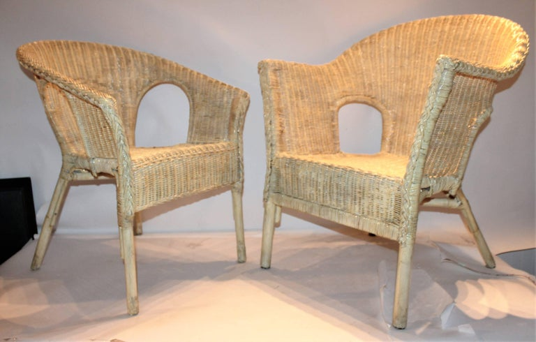 Bar Harbor Painted Wicker Chairs/Pair 2