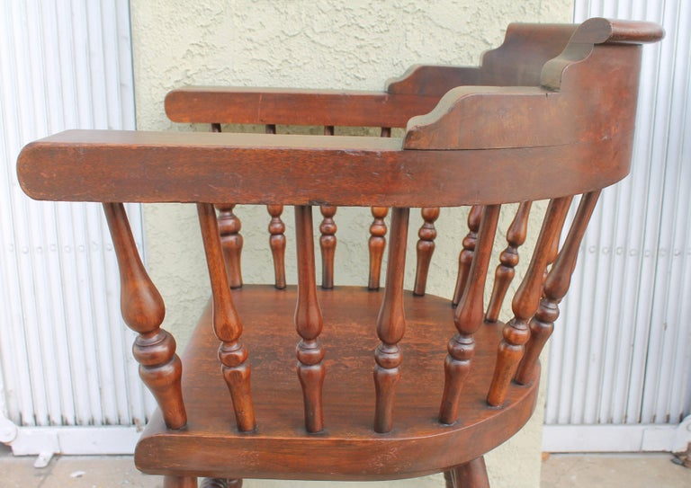Four 19th Century Windsor Captains Chairs from Maine 4