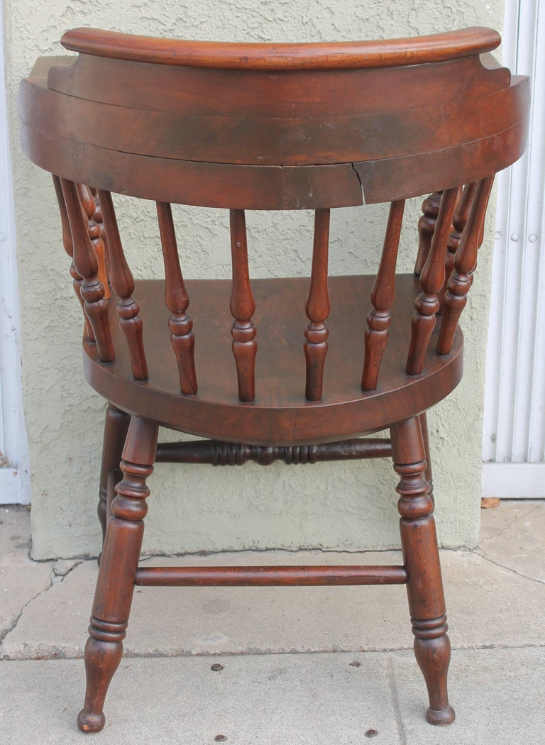 Four 19th Century Windsor Captains Chairs from Maine 3