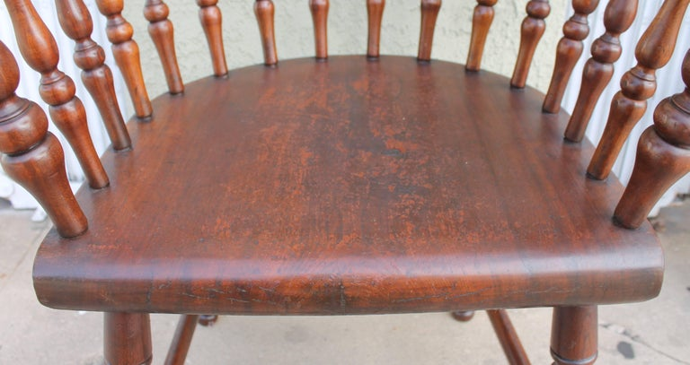 Four 19th Century Windsor Captains Chairs from Maine 9