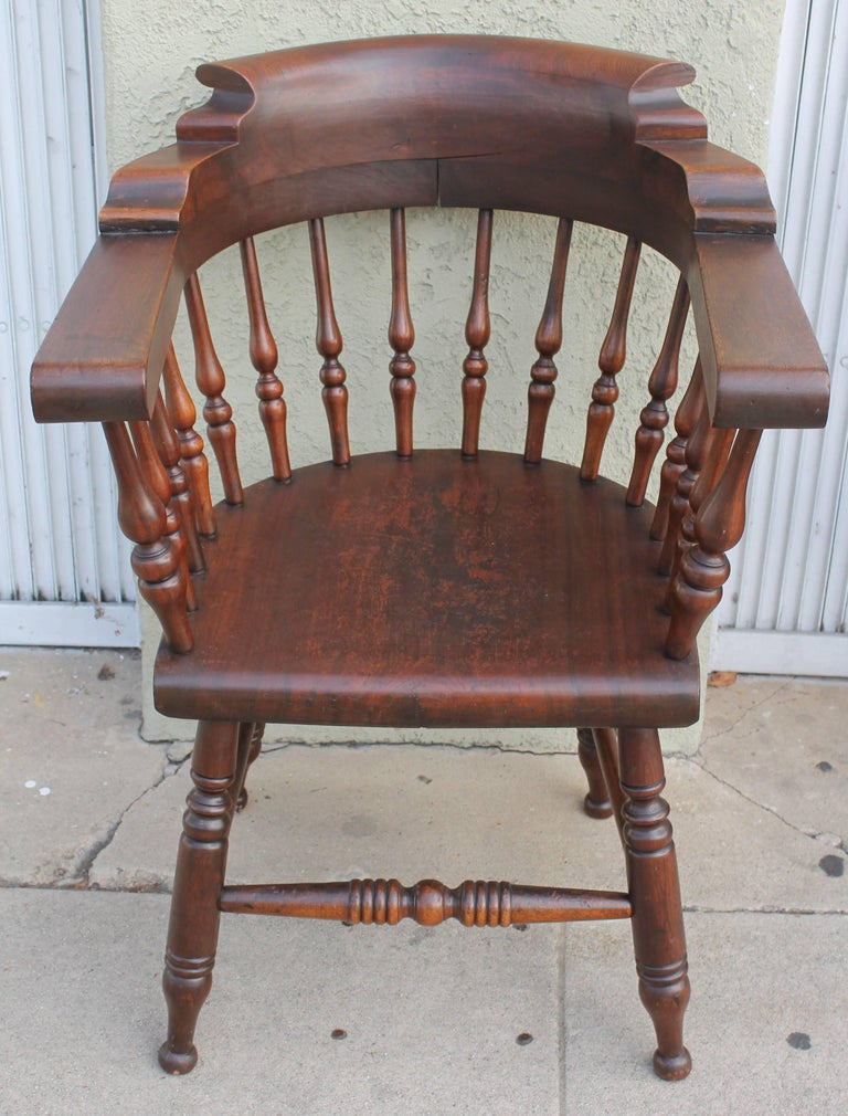 Four 19th Century Windsor Captains Chairs from Maine 2
