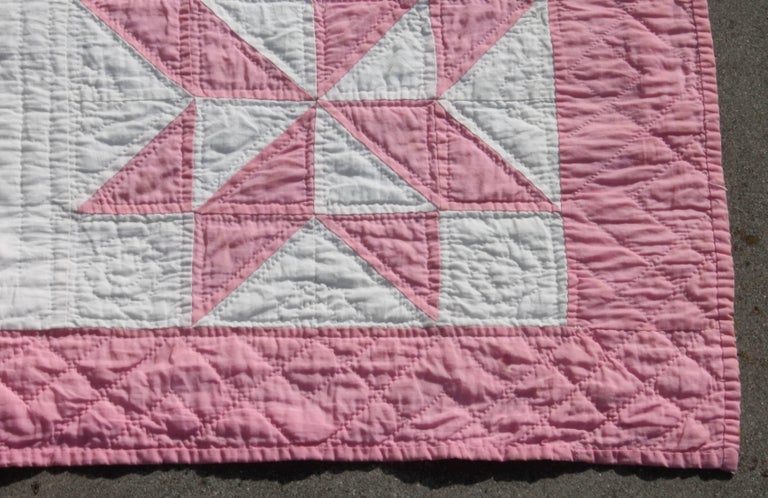 Country 19th Century Star Quilt in Dusty Rose For Sale