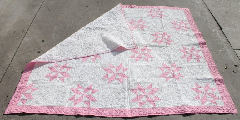 Hand-Crafted 19th Century Star Quilt in Dusty Rose For Sale