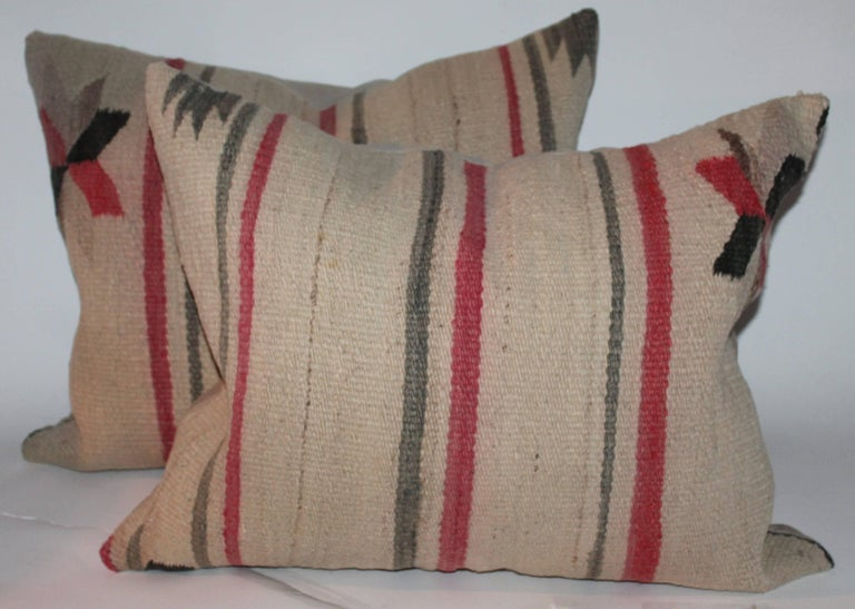 Hand-Crafted Early Navajo Indian Weaving Saddle Blanket Pillows For Sale