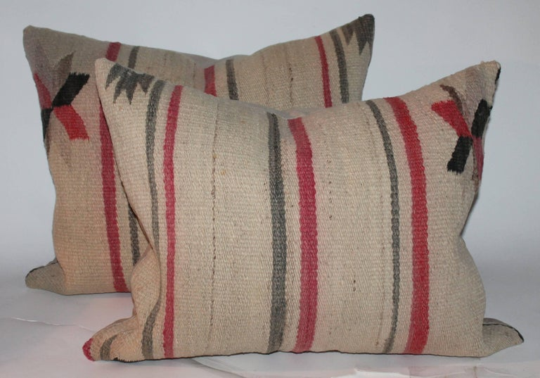 Early Navajo Indian Weaving Saddle Blanket Pillows 4