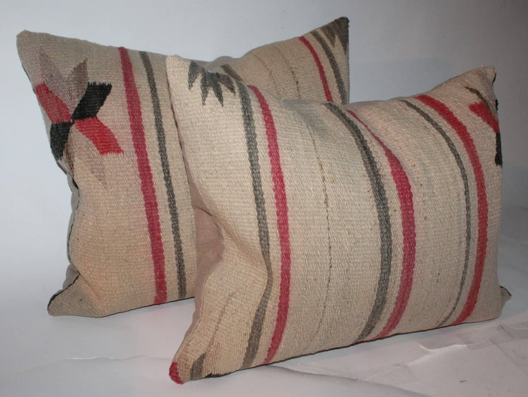 20th Century Early Navajo Indian Weaving Saddle Blanket Pillows For Sale