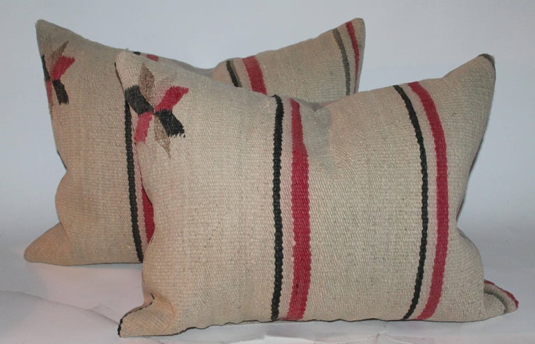 Early Navajo Indian Weaving Saddle Blanket Pillows In Good Condition For Sale In Los Angeles, CA