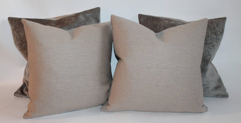Late 20th Century Velvet Lux Silk Olive Green Pillows, Pair For Sale
