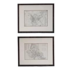 Mid 19th Century Pair of Framed English Maps of Oxford and Cambridge