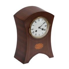 Late 19th Century Edwardian Mahogany Clock with Decorative Oval Inlay