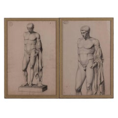A Pair of Charcoal Drawings of a Sculpture of a Male Nude