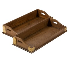 A Late 19th Century Brassbound and Oak Tray with Handles