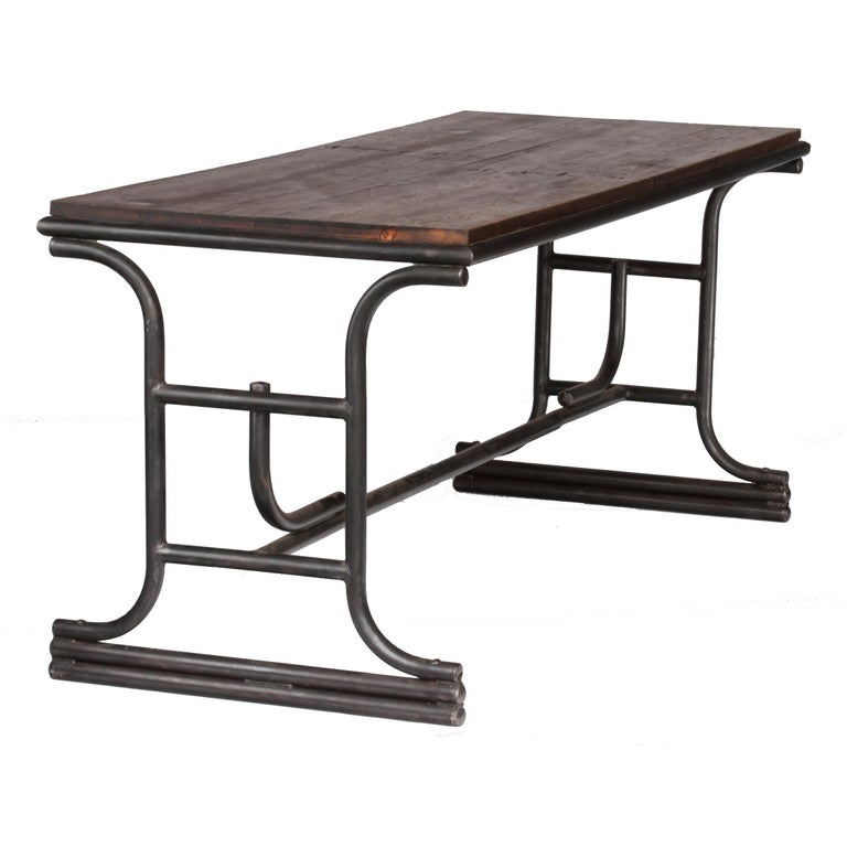 1920s French Industrial Metal Table with Wood Top