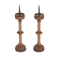 Pair of Painted Candlesticks