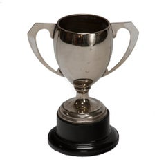 Silver Trophy with Handles and a Wooden Base