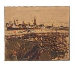 Oil Painting of Antwerp Circa 1900