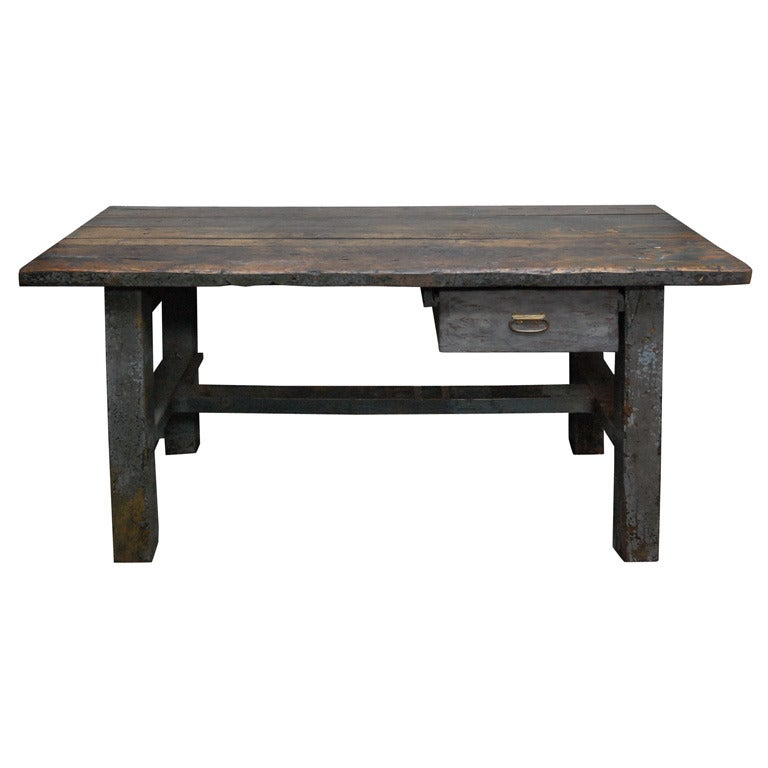 English Painted Work Table, circa 1840 For Sale