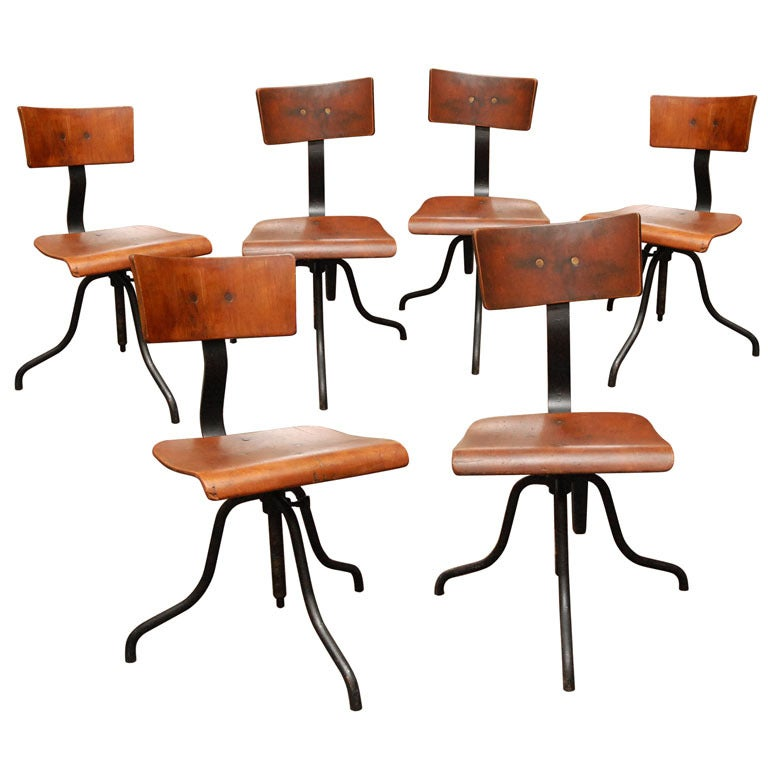 Wood and Iron Base Swivel Desk Chairs from Late 19th Century France